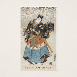 Classic vintage ukiyo-e samurai old scroll paint business card