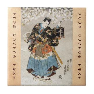 Classic vintage ukiyo-e samurai old scroll paint ceramic tile