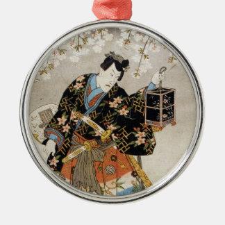 Classic vintage ukiyo-e samurai old scroll paint metal ornament