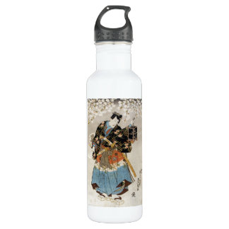 Classic vintage ukiyo-e samurai old scroll paint water bottle