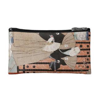 Classic vintage ukiyo-e samurai with a fan Utagawa Makeup Bag