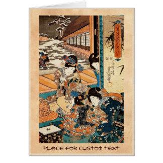 Classic vintage ukiyo-e three geishas Utagawa art Card
