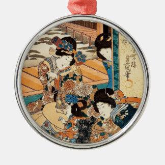 Classic vintage ukiyo-e three geishas Utagawa art Metal Ornament