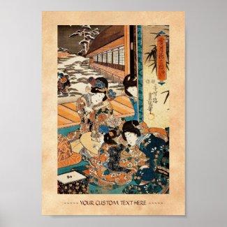 Classic vintage ukiyo-e three geishas Utagawa art Poster