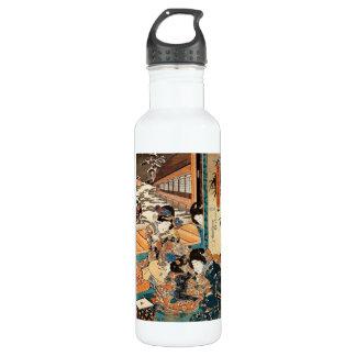 Classic vintage ukiyo-e three geishas Utagawa art Water Bottle