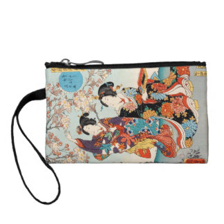 Classic vintage ukiyo-e two geishas Utagawa art Change Purse