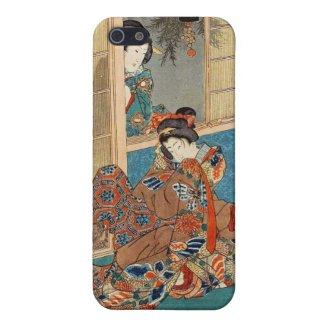 Classic vintage ukiyo-e two geishas Utagawa art Cover For iPhone 5
