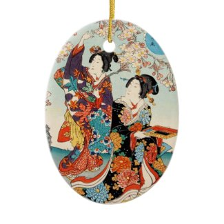 Classic vintage ukiyo-e two geishas Utagawa art Christmas Tree Ornaments