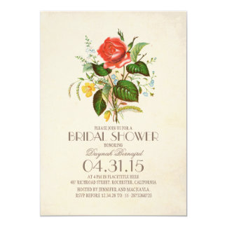 classic vintage watercolor flower bridal shower card