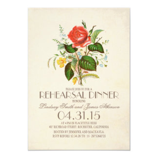 classic vintage watercolor flower rehearsal dinner 5x7 paper invitation card