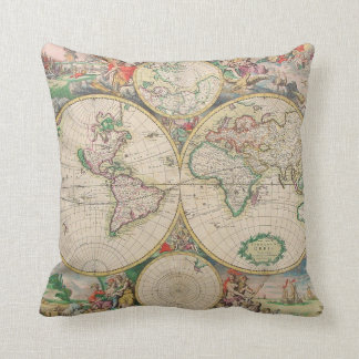 Classic Vintage World Travel Map Throw Pillow