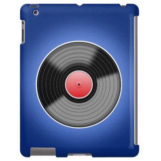 Classic Vinyl LP Record on Blue iPad case