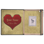 Classic Vivid Red Heart with Gold Metallic Border iPad Case