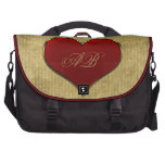 Classic Vivid Red Heart with Gold Metallic Border Bags For Laptop