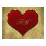 Classic Vivid Red Heart with Gold Metallic Border Personalized Letterhead