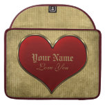 Classic Vivid Red Heart with Gold Metallic Border MacBook Pro Sleeves