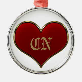 Classic Vivid Red Heart with Gold Metallic Border Metal Ornament