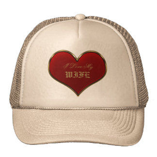 Classic Vivid Red Heart with Gold Metallic Border Trucker Hat
