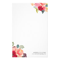 Classic Watercolor Flowers Personalized Stationery