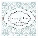 """Classic Wedding Invitation in Light Gray 5.25"""" Square Invitation Card"""
