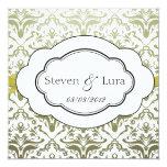 """Classic Wedding Invitation in Lime 5.25"""" Square Invitation Card"""