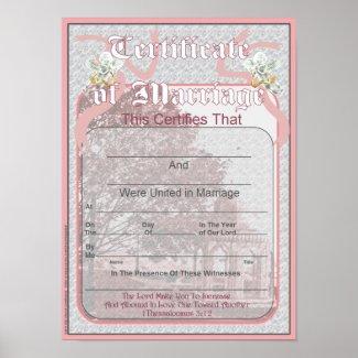 Classic Wedding Memories Marriage Certificate print