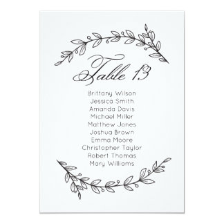 Classic wedding seating chart. Table plan 13 Card