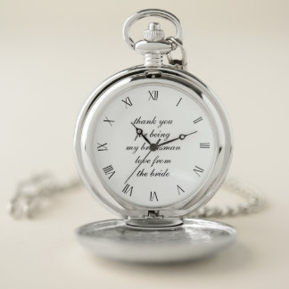 Classic Wedding Thank You Bridesman Pocket Watch