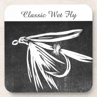 """""""Classic Wet Fly - Black"""" Trout Fly Coaster"""