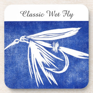 """""""Classic Wet Fly - Blue"""" Trout Fly Coaster"""
