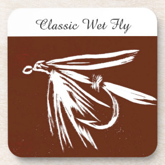 """""""Classic Wet Fly - Brown"""" Trout Fly Coaster"""