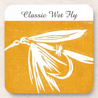 """""""Classic Wet Fly - Golden"""" Trout Fly Coaster"""