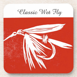"""""""Classic Wet Fly - Red"""" Trout Fly Coaster"""
