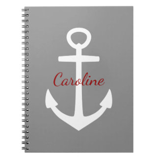Classic White Anchor on Dove Grey Personalized Notebook