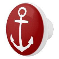 Classic White Anchor on Nautical Red Ceramic Knob