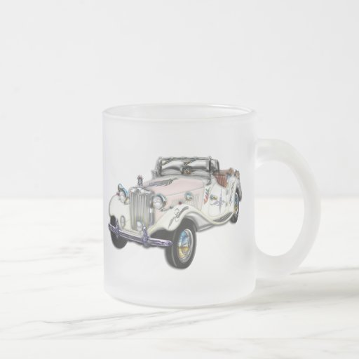 Classic White and Gold MG Convertible Frosted Glass Coffee Mug
