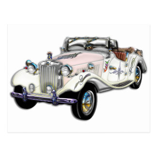 Classic White and Gold MG Convertible Postcards