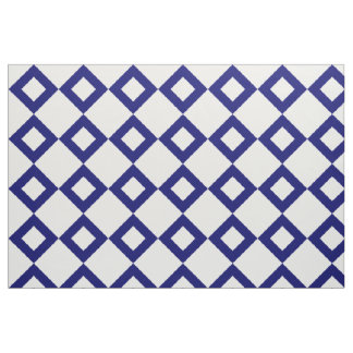 Classic White and Navy Diamond Pattern Fabric