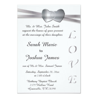 Classic White and Silver Wedding Love Hearts Card
