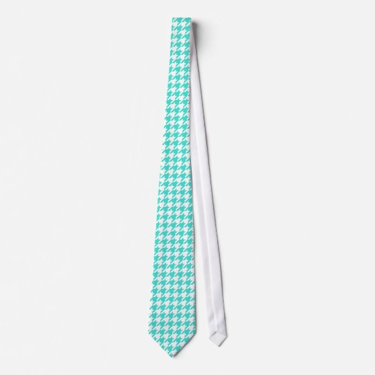 Classic White and Turquoise Houndstooth Check Tie
