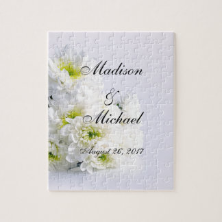 Classic White Bouquet on Wedding White Background Jigsaw Puzzle