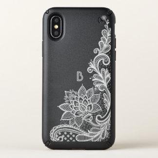 Classic White Floral Lace Applique Monogram Speck iPhone X Case