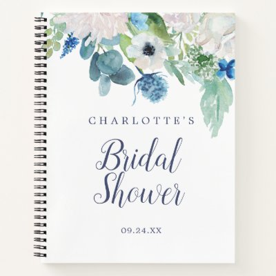 Classic White Flowers Bridal Shower Gift List Notebook