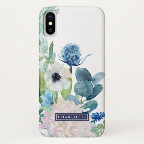 Classic White Flowers Custom Name Phone Case