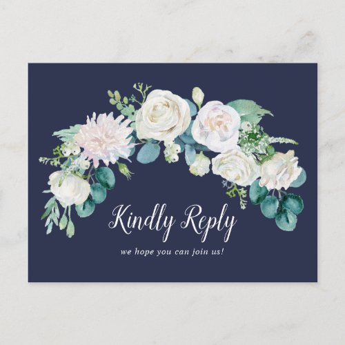 Classic White Flowers | Navy Song Request RSVP Invitation Postcard