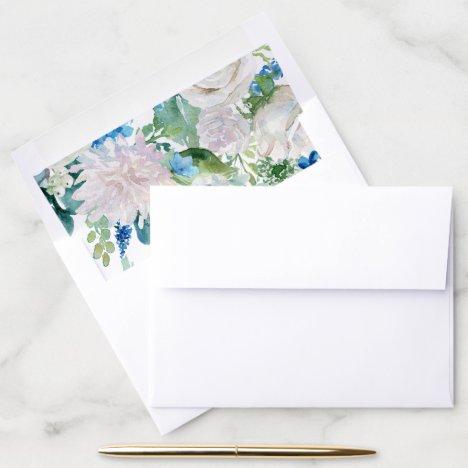 Classic White Flowers Pattern Envelope Liner