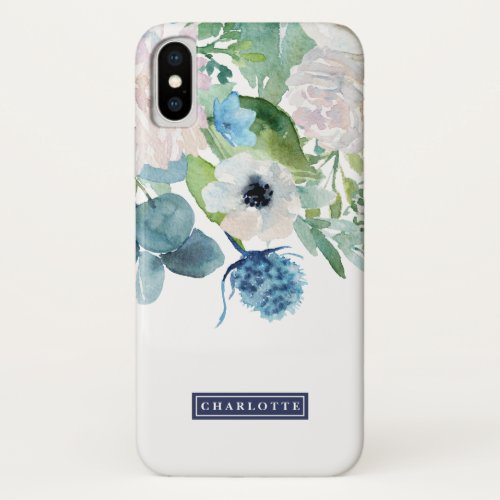 Classic White Flowers Personalized Name Phone Case