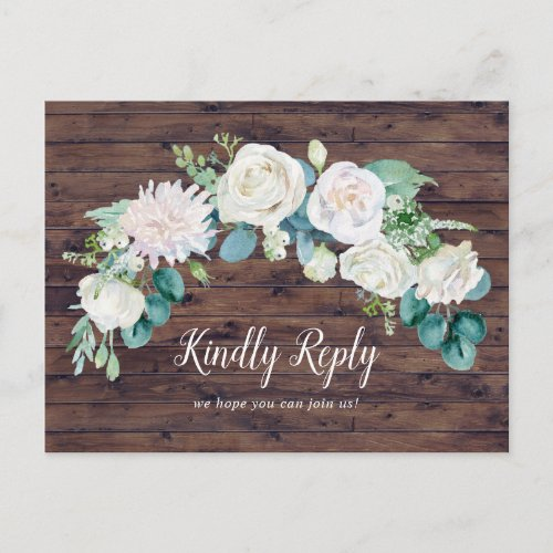 Classic White Flowers | Rustic Song Request RSVP Invitation Postcard