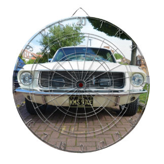 Classic White Ford Mustang Dartboard With Darts
