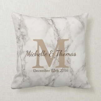 Classic White Marble Taupe Monogram Wedding Date Throw Pillow